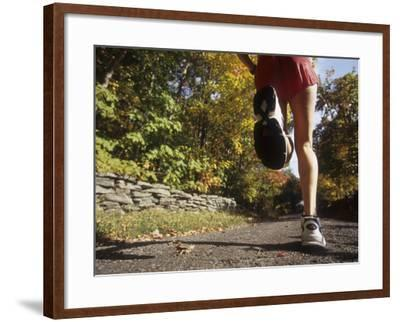 Female Runner Out on the Trails--Framed Photographic Print