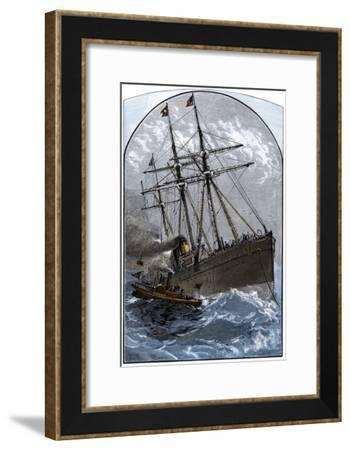 Mail Boat in a Gale Delivering to White Star Lines Steamer Germanic Off Sandy Hook, NJ, 1870s--Framed Photographic Print