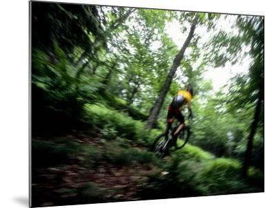 Blurred Action of Recreational Mountain Biker Riding on the Trails--Mounted Photographic Print