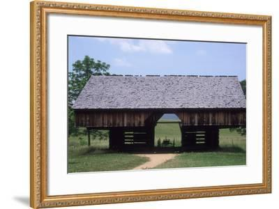 Wagon in a Cantilevered Barn, Cades Cove, Great Smoky Mountains National Park, Tennessee--Framed Photographic Print