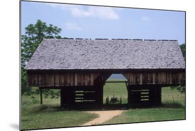 Wagon in a Cantilevered Barn, Cades Cove, Great Smoky Mountains National Park, Tennessee--Mounted Photographic Print