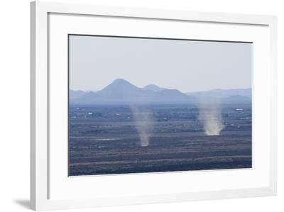 Dust Devils Twirl in the Desert Along the Mexico Border, Southern New Mexico--Framed Photographic Print