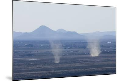 Dust Devils Twirl in the Desert Along the Mexico Border, Southern New Mexico--Mounted Photographic Print
