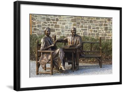 Bronze Statue of Franklin and Eleanor Roosevelt at Their Family Home in Hyde Park, NY--Framed Photographic Print