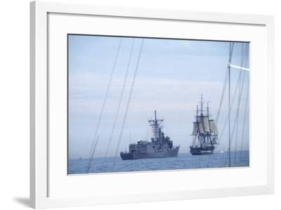 "USS Constitution ""Old Ironsides"" Under Sail, Escorted by Modern US Navy Frigate, 1997--Framed Photographic Print"