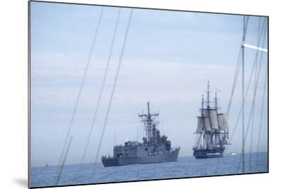 "USS Constitution ""Old Ironsides"" Under Sail, Escorted by Modern US Navy Frigate, 1997--Mounted Photographic Print"