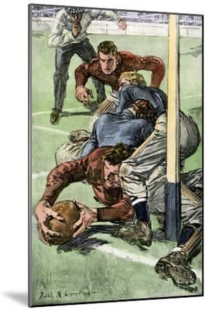 Touchdown Scored in a College Football Game, Early 1900s--Mounted Photographic Print