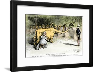 """Monopoly Dragon, """"a Huge Feeder, But a Poor Milker,"""" 1887 Cartoon Favoring Antitrust Legislation--Framed Photographic Print"""
