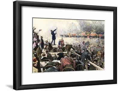 Crowds Cheer Speaker at Republican Convention Which nominated Theodore Roosevelt, Chicago, 1900--Framed Photographic Print