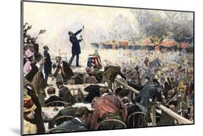 Crowds Cheer Speaker at Republican Convention Which nominated Theodore Roosevelt, Chicago, 1900--Mounted Photographic Print