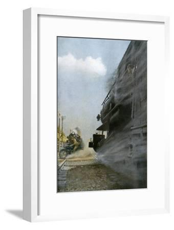 Motorcyclist narrowly Escapes Crossing Between Two Locomotives, Early 1900s--Framed Photographic Print