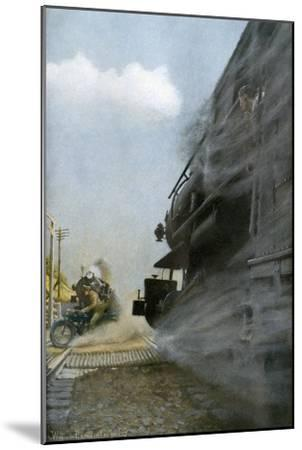 Motorcyclist narrowly Escapes Crossing Between Two Locomotives, Early 1900s--Mounted Photographic Print