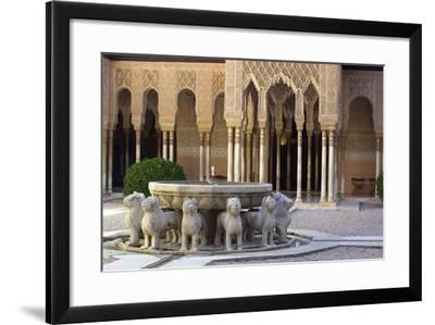 Courtyard of the Lions in the Alhambra, a Medieval Moorish City, Granada, Spain--Framed Photographic Print
