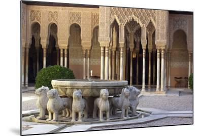 Courtyard of the Lions in the Alhambra, a Medieval Moorish City, Granada, Spain--Mounted Photographic Print