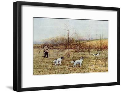 Bird Hunter with His Setters in the Field, Circa 1900--Framed Photographic Print