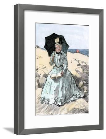 Chaperone Discreetly Reading a Book at the Beach, Circa 1900--Framed Photographic Print