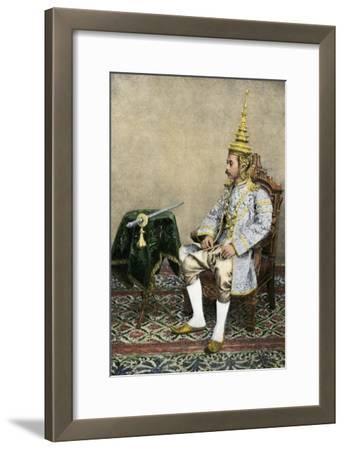 Rama V (Chulalongkorn), King of Siam, in His Royal Attire, Circa 1900--Framed Photographic Print