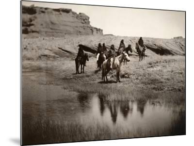 Navajo On Horseback, C1904-Edward S^ Curtis-Mounted Photographic Print