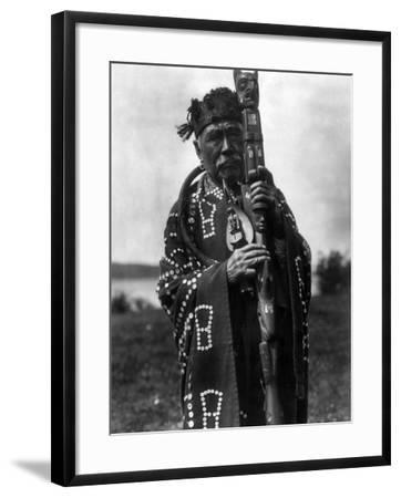 Kwakiutl Chief, C1914-Edward S^ Curtis-Framed Photographic Print