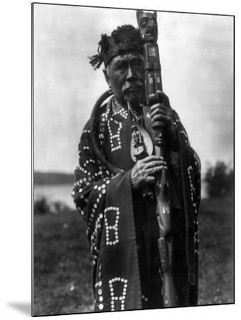 Kwakiutl Chief, C1914-Edward S^ Curtis-Mounted Photographic Print