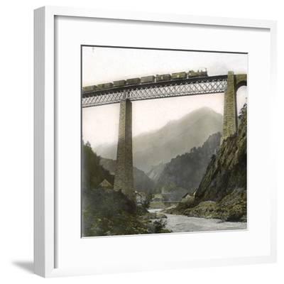 Amsteg (Switzerland), the Bridge of the Saint-Gothard Railroad, over the Reuss River, Circa 1865-Leon, Levy et Fils-Framed Photographic Print