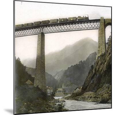 Amsteg (Switzerland), the Bridge of the Saint-Gothard Railroad, over the Reuss River, Circa 1865-Leon, Levy et Fils-Mounted Photographic Print