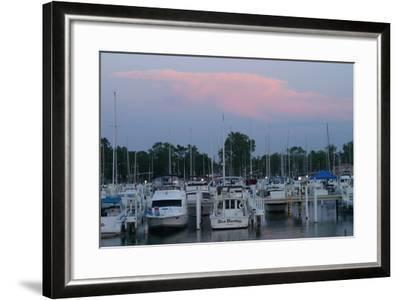 Boat docks at sunset, Indiana Dunes, Indiana, USA-Anna Miller-Framed Photographic Print