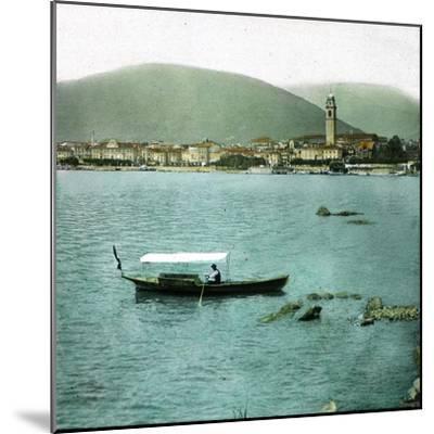 Pallanza (Italy), Boat on the Lago Maggiore-Leon, Levy et Fils-Mounted Photographic Print