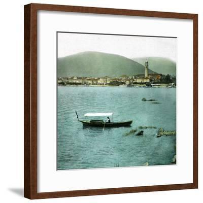 Pallanza (Italy), Boat on the Lago Maggiore-Leon, Levy et Fils-Framed Photographic Print