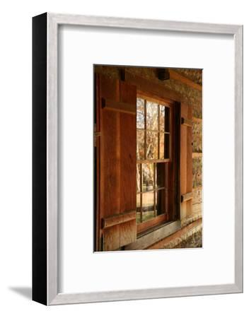 Fall reflections in windows of Cades Cove cabin, Tennessee, USA-Anna Miller-Framed Photographic Print