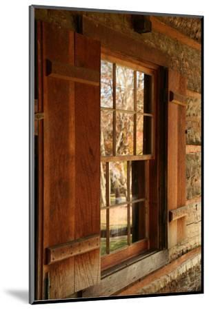 Fall reflections in windows of Cades Cove cabin, Tennessee, USA-Anna Miller-Mounted Photographic Print