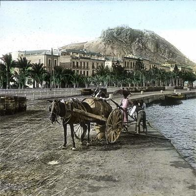 Alicante (Spain), Cistern on the Seaside and View of the Hill of Fort Santa Barbara-Leon, Levy et Fils-Framed Photographic Print