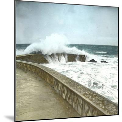 Biarritz (Atlantic-Pyrennes, France), Effects of the Sea-Leon, Levy et Fils-Mounted Photographic Print