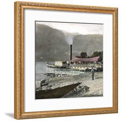 Boats on Lake Brienz (Switzerland), Circa 1865-Leon, Levy et Fils-Framed Photographic Print