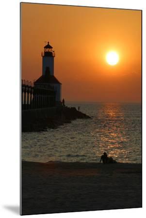 Indiana Dunes lighthouse at sunset, Indiana Dunes, Indiana, USA-Anna Miller-Mounted Photographic Print