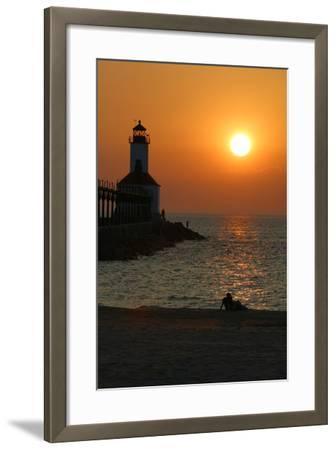 Indiana Dunes lighthouse at sunset, Indiana Dunes, Indiana, USA-Anna Miller-Framed Photographic Print