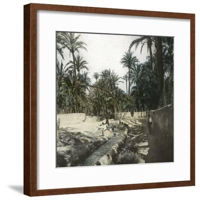 Elche (Spain), Women Washing Laundry in a Canal Near the Village, Circa 1885-1890-Leon, Levy et Fils-Framed Photographic Print