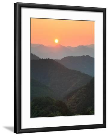 Sunset Beyond Mountains--Framed Photographic Print
