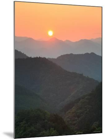 Sunset Beyond Mountains--Mounted Photographic Print