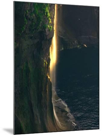 Water Falls at Sunset--Mounted Photographic Print