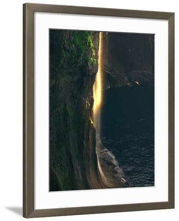 Water Falls at Sunset--Framed Photographic Print