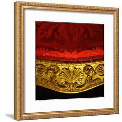 Armchair in Gilded Beech Wood and Walnut with Damask Upholstery-Robert Adam-Framed Photographic Print