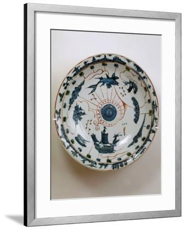 Fujian Plate with Maritime Motif, Swatow Porcelain,1573-1620, Ming Dynasty--Framed Photographic Print
