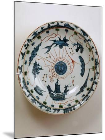 Fujian Plate with Maritime Motif, Swatow Porcelain,1573-1620, Ming Dynasty--Mounted Photographic Print