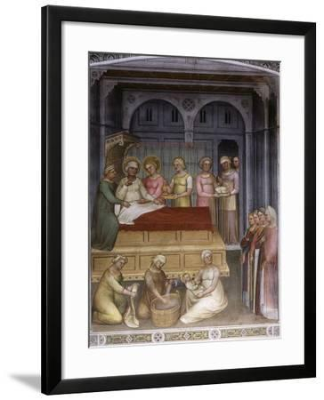 Birth of Virgin Mary to Saint Anne, Jesus baptised by John the Baptist, Dome of Paradise, fresco-Giusto De' Menabuoi-Framed Photographic Print
