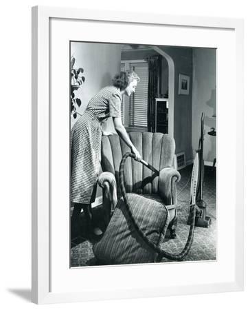 Homemaker Vacuuming, USA, 1950--Framed Photographic Print