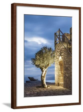 Tainaron Blue Retreat in Mani, Greece. Exterior View of an Alcove in a Stone Wall and a Tree-George Meitner-Framed Photographic Print