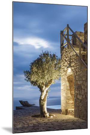 Tainaron Blue Retreat in Mani, Greece. Exterior View of an Alcove in a Stone Wall and a Tree-George Meitner-Mounted Photographic Print