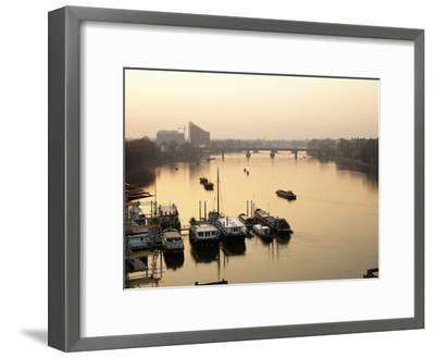 Houseboats Moored on River Thames with Putney Bridge at Sunset, Uk-Simon Warren-Framed Photographic Print