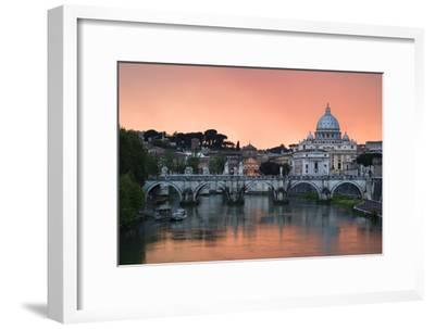 Ponte Sant'Angelo and St. Peter's Basilica at Sunset, Vatican City, Rome-David Clapp-Framed Photographic Print